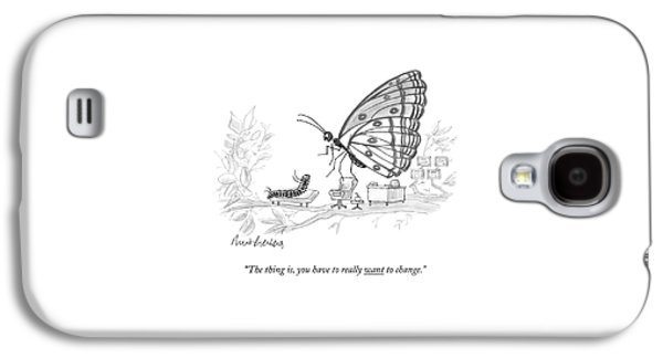 A Butterfly Speaks To A Caterpillar Galaxy S4 Case by Mort Gerberg