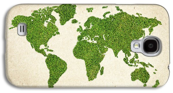 World Grass Map Galaxy S4 Case by Aged Pixel