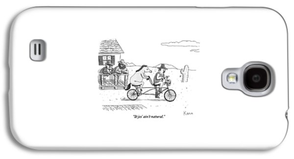 A Cowboy And His Horse Ride A Tandem Bike Galaxy S4 Case by Zachary Kanin