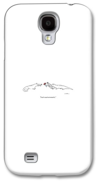 Reptiles Galaxy S4 Case - A Crocodile To Another Crocodile With A Person by Michael Maslin