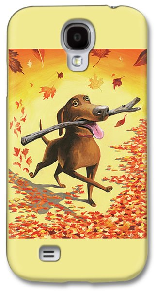 A Dog Carries A Stick Through Fall Leaves Galaxy S4 Case