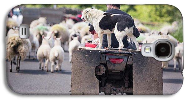 A Farmer Droving Sheep From A Quad Bike Galaxy S4 Case by Ashley Cooper