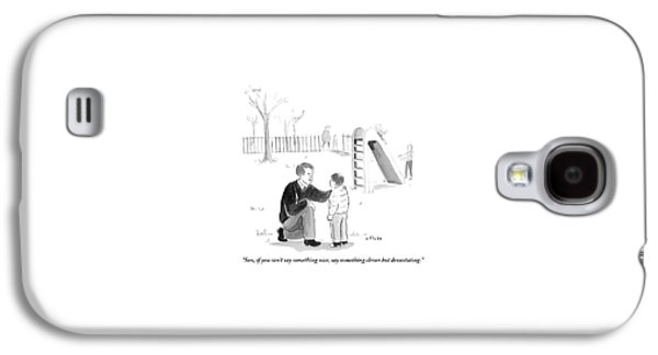 A Father Encourages His Son At The Playground Galaxy S4 Case by Emily Flake
