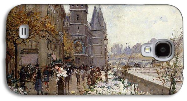 A Flower Market Along The Seine Galaxy S4 Case by Georges Stein