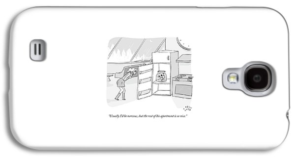 A Girl Who Is Talking On The Phone Opens A Fridge Galaxy S4 Case by Farley Katz