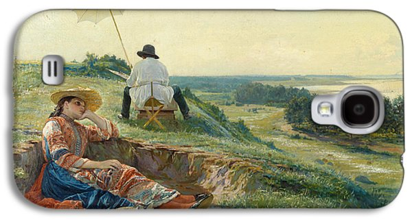 A Hot Summer Day. The Artist At Work Galaxy S4 Case by Vasili Andreyevich Golynsky