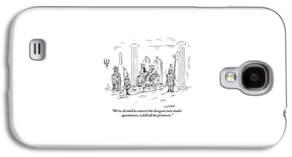 A King And Queen In The Royal Court Give Orders Galaxy S4 Case by David Sipress