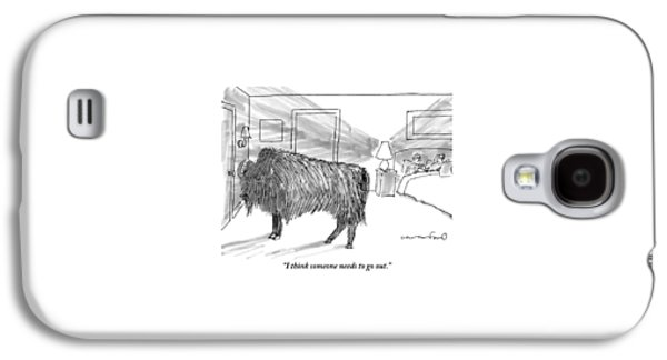 A Large Buffalo Stands Near The Door Galaxy S4 Case by Michael Crawford