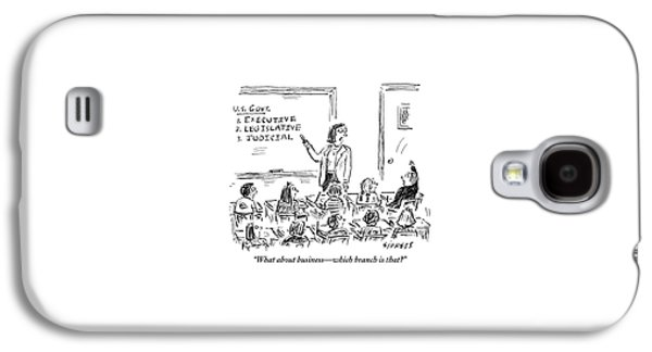 A Little Boy Asks His Teacher In The Classroom Galaxy S4 Case by David Sipress