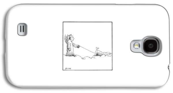 A Male Angel Walks His Dog On A Leash Across Some Galaxy S4 Case by Harry Bliss