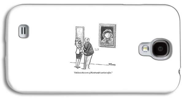A Man And Woman Stand In A Museum Looking Galaxy S4 Case by Benjamin Schwartz