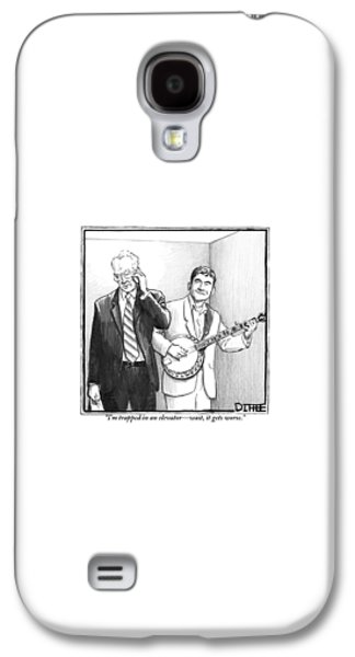 Musicians Galaxy S4 Case - A Man In A Business Suit Is Talking On His Cell by Matthew Diffee
