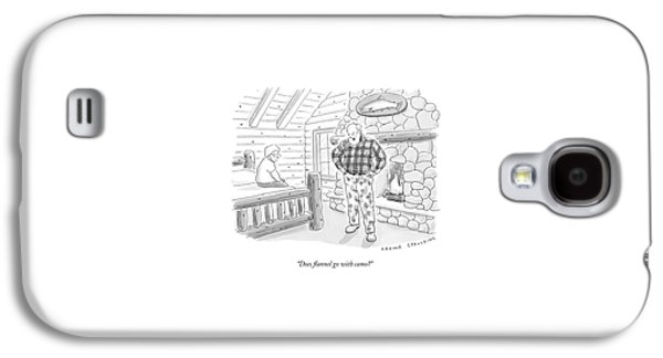A Man In A Log Cabin Wears A Flannel Shirt Galaxy S4 Case
