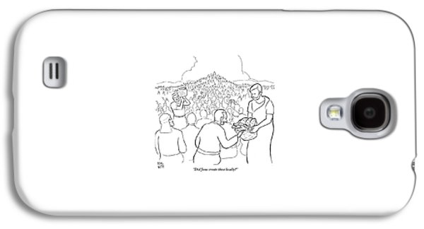 A Man Is Passing Out Loaves And Fish To A Large Galaxy S4 Case by Paul Noth