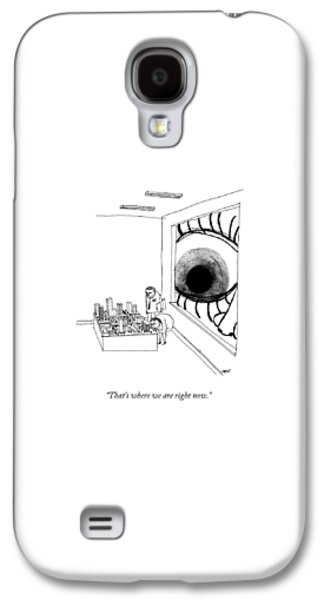 A Man Looks Into The Window Of A Miniature Galaxy S4 Case