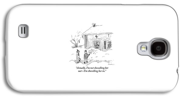 A Man Shoveling Snow Addresses A Person Galaxy S4 Case by Michael Maslin