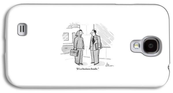 A Man Wearing A Hoodie Is Seen Speaking Galaxy S4 Case by Leo Cullum
