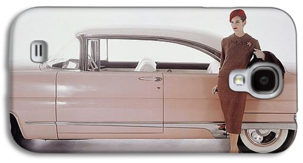 A Model Posing In Front Of A Vintage Car Galaxy S4 Case by Karen Radkai