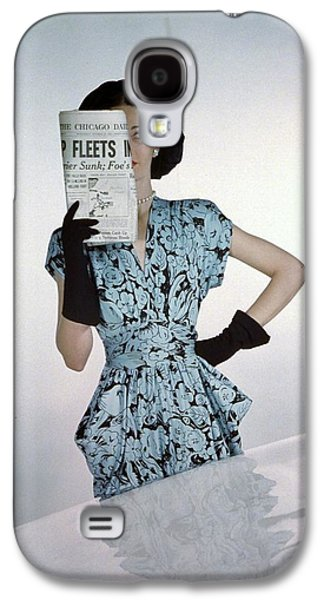 A Model Wearing A Floral Blue Dress Galaxy S4 Case by Constantin Joff?