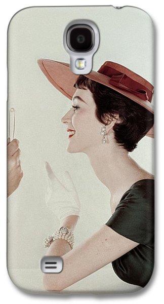 A Model Wearing A Sun Hat And Dress Galaxy S4 Case by John Rawlings