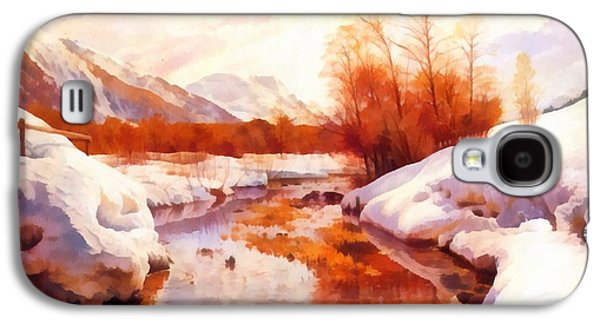 A Mountain Torrent In A Winter Landscape Galaxy S4 Case by Peder Mork Monsted