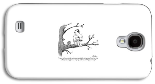A Naked Man Sitting On A Tree Branch Is Talking Galaxy S4 Case