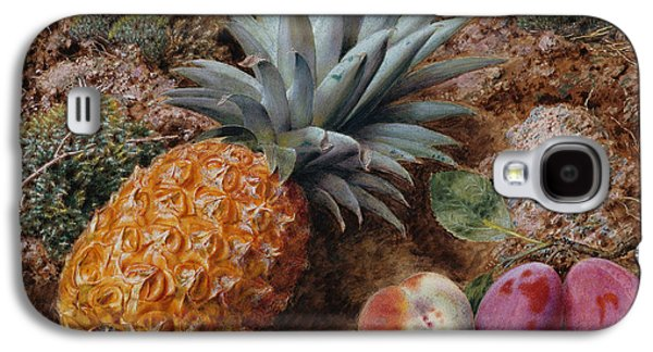A Pineapple A Peach And Plums On A Mossy Bank Galaxy S4 Case by John Sherrin