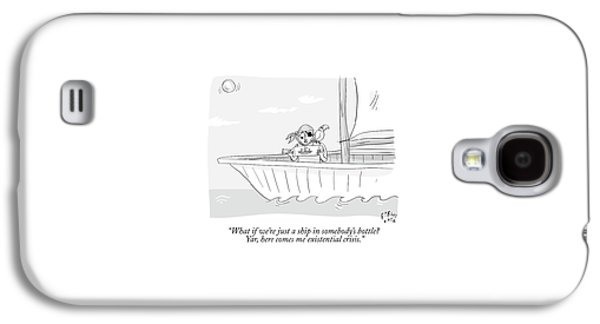 A Pirate In A Ship Holds A Ship In A Bottle Galaxy S4 Case by Farley Katz