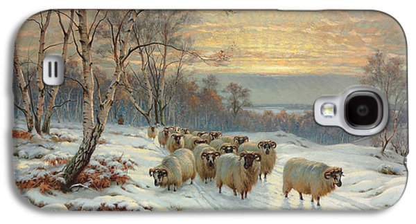 A Shepherd With His Flock In A Winter Landscape Galaxy S4 Case by Wright Barker