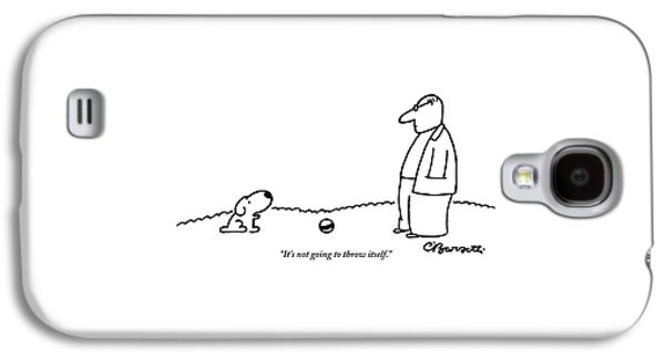 A Small Dog Sits A Short Distance Away Galaxy S4 Case by Charles Barsotti