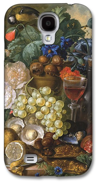 A Still Life With Fruits And Flowers With Oysters Mussels A Glass Of Wine And A Decanter Galaxy S4 Case by Jan van Os