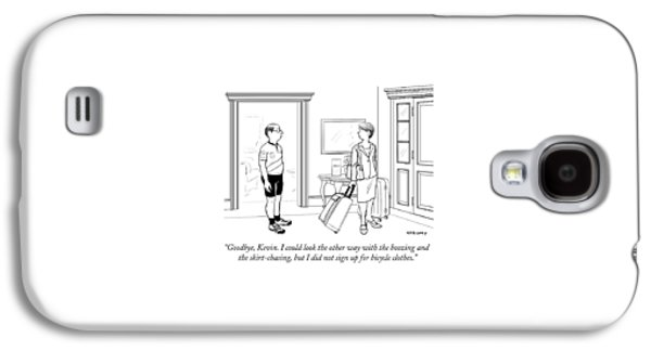 A Wife With Luggage Leaves Her Husband Galaxy S4 Case by Alex Gregory