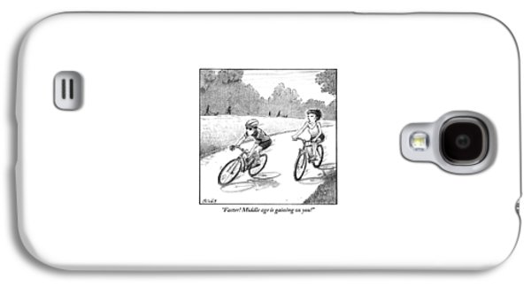 A Woman Casually Riding A Bicycle Addresses A Man Galaxy S4 Case
