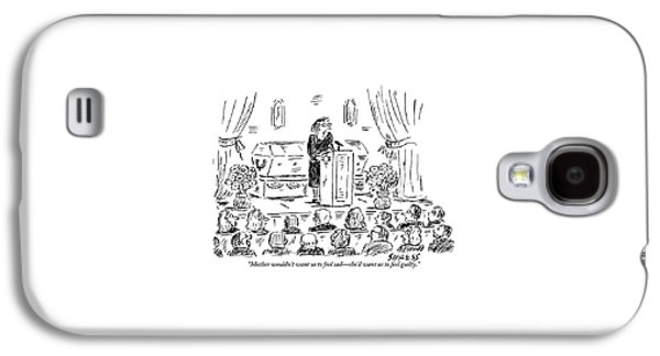 A Woman Dressed In Black Speaks At Her Mother's Galaxy S4 Case by David Sipress