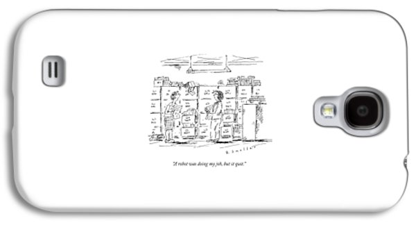 A Woman In A Room Full Of File Cabinets Speaks Galaxy S4 Case by Barbara Smaller