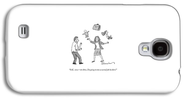 A Woman Juggles Two Children And A Briefcase Galaxy S4 Case
