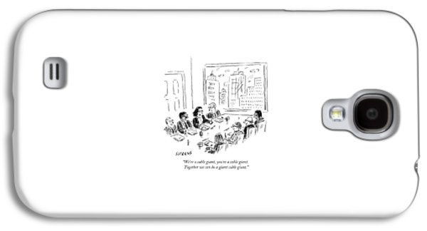 A Woman Speaks Across The Table At A Full Board Galaxy S4 Case by David Sipress