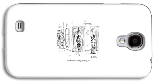 A Woman Speaks To Her Husband While Peering Galaxy S4 Case by David Sipress