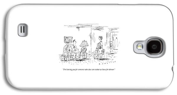 A Woman With Luggage Confronts Her Husband Galaxy S4 Case by Barbara Smaller