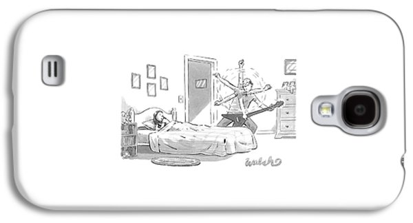 A Young Girl Lies In Bed As Her Father Plays An Galaxy S4 Case