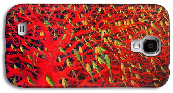 About 180 Orange Bellied Parrots  Galaxy S4 Case