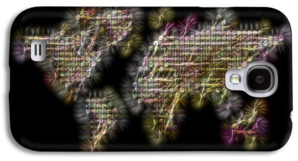 Abstract Colorful World Map Fractalius Galaxy S4 Case by Georgeta Blanaru