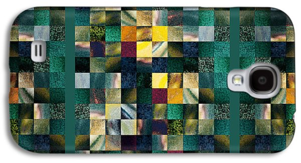 Abstract Squares Triptych Gentle Green Galaxy S4 Case by Irina Sztukowski