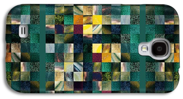 Abstract Squares Triptych Gentle Green Galaxy S4 Case