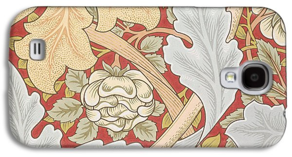 Acanthus Leaves Wild Rose On Crimson Background Galaxy S4 Case