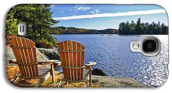 Adirondack Chairs At Lake Shore Galaxy S4 Case by Elena Elisseeva