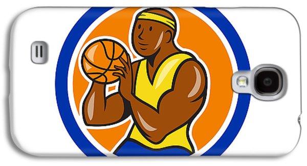 African-american Basketball Player Shooting Cartoon Circle Galaxy S4 Case