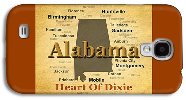 Aged Alabama State Pride Map Silhouette  Galaxy S4 Case by Keith Webber Jr