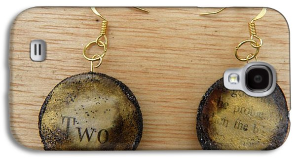 Aged Paper Circle Earrings 4 Galaxy S4 Case by M Brandl