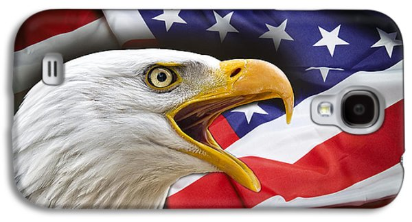 Aggressive Eagle And United States Flag Galaxy S4 Case by Daniel Hagerman